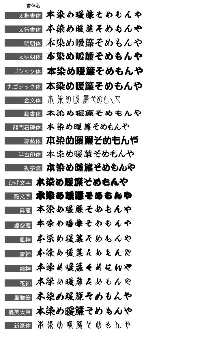 書体リスト